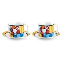 EGAN Set 2 Tazze Cappuccino con Piattino Britto Fiore 220 Ml