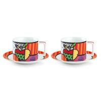 EGAN Set 2 Tazze Cappuccino con Piattino Britto Cuore 220 Ml
