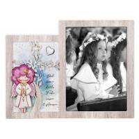 BONGELLI PREZIOSI CORNICE PORTAFOTO ANGELO PRIMA COMUNIONE FEMMINA 26,5 X 20,5 CM