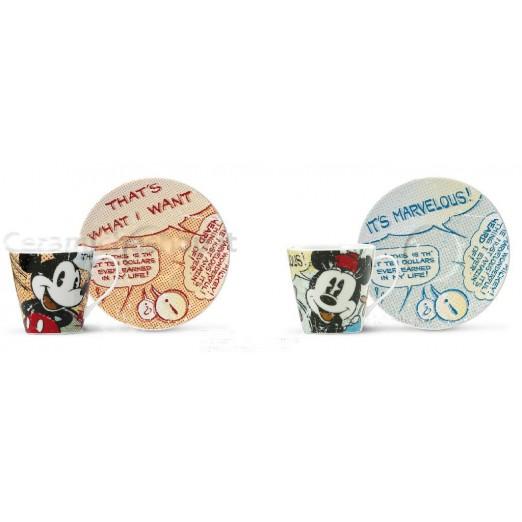 Set due Tazzine Caffe Mickey e Minnie Porcellana Egan