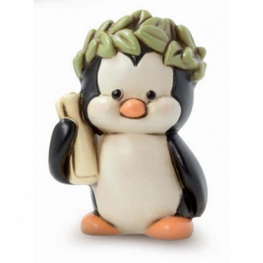 Pinguino con corona Egan bomboniera laurea in ceramica