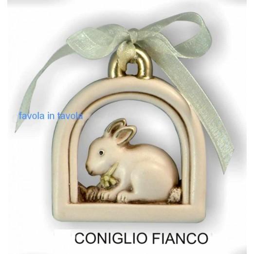 Bomboniera Lunetta Coniglio , decoro oro