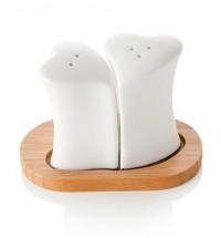 BRANDANI Sale e pepe cuore bianco porcellana c/supporto bamboo