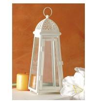 BRANDANI Lanterna cattedrale piccola bianca metallo/vetro