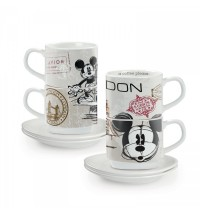EGAN  set 2 tazzine caffè impilabili Londra con piattini