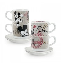 EGAN  set 2 tazzine caffè impilabili Roma con piattini