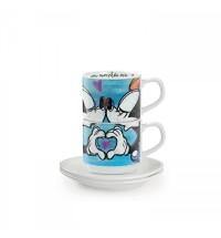 EGAN set 2 tazzine caffè impilabili blu con piattini