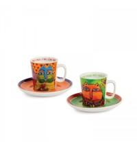 EGAN set 2 tazze caffè verde e arancio LAUREL BURCH