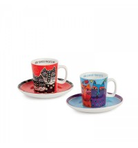 EGAN set 2 tazzine caffè rosso e celeste LAUREL BURCH