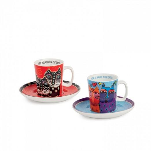 EGAN set 2 tazze caffè rosso e celeste LAUREL BURCH