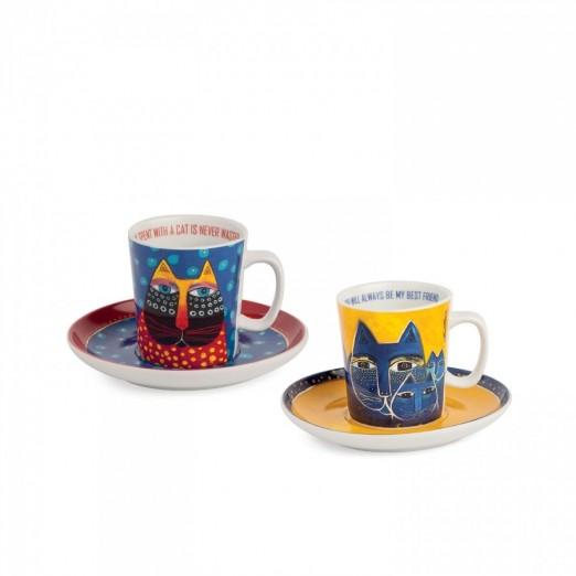 EGAN set 2 tazze caffè blu e giallo LAUREL BURCH