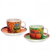 EGAN set 2 tazzine cappuccino verde e arancio LAUREL BURCH