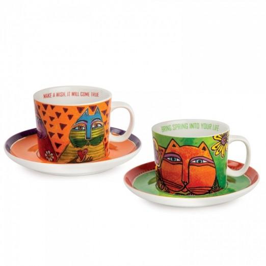 EGAN set 2 tazze cappuccino verde e arancio LAUREL BURCH
