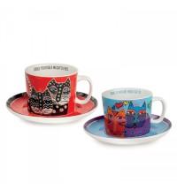 EGAN set 2 tazze cappuccino rosso e celeste LAUREL BURCH