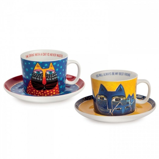 EGAN set 2 tazze cappuccino blu e giallo LAUREL BURCH