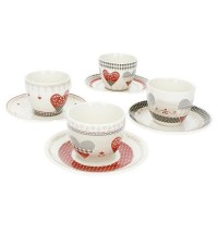 BRANDANI TAZZINA CAFFE HAPPY DAY SET 4 PEZZI IN NEW BONE CHINA