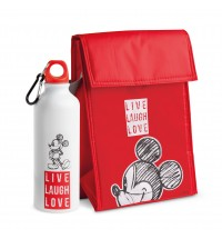 EGAN SET BORSA TERMICA E BORRACCIA MICKEY LIVE LAUGH LOVE ROSSO